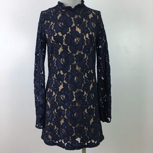 WAYF Floral Navy Blue Lace Cocktail Dress